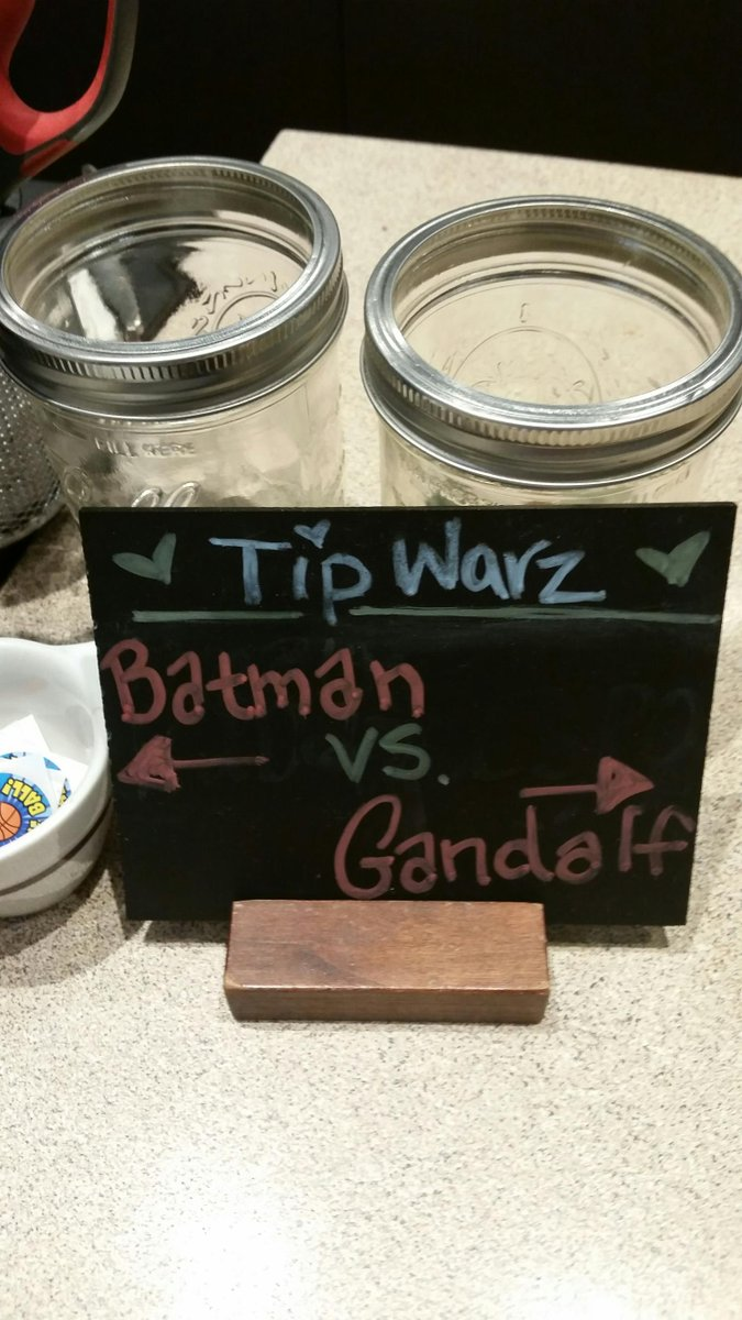 Great #TipWarz at #Shorewood @stonecreekcoffe - apparently #Gandalf is a week-long undefeated champ! #coffee #LOTR http://t.co/rNpWWz9Hsm