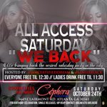 #AllAccessSaturdays is Back October 24th is the Kick off to the Sexiest Saturday night party at #CephoraLounge http://t.co/AXKkVxdMWi 444