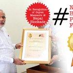 In recognition of Gujrat (India) massacre & Nepal Blockade—  #NobelBrutalPrizeForModi @narendramodi http://t.co/Dwirw2huJr