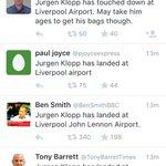 I think Jurgen Klopp has landed at Liverpool airport. ???? http://t.co/A7eed1plPV