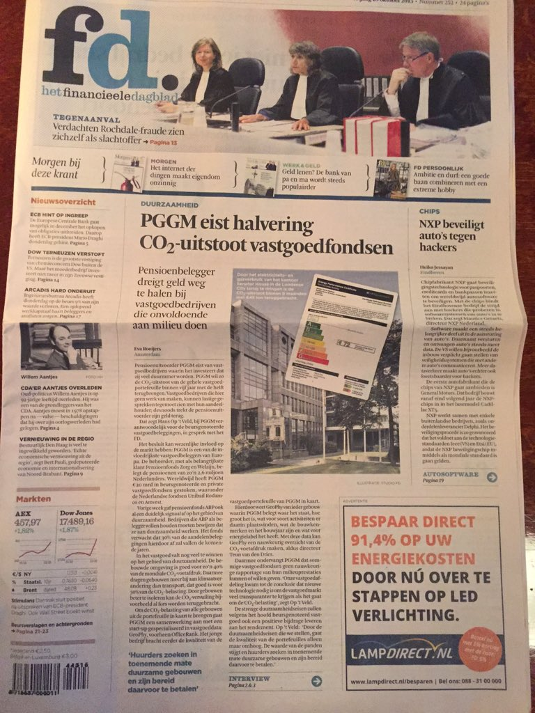 Another brick in the wall: Dutch mega pension fund #PGGM demands 50% CO2 reduction from real estate investment funds https://t.co/RxXWQ2F07f