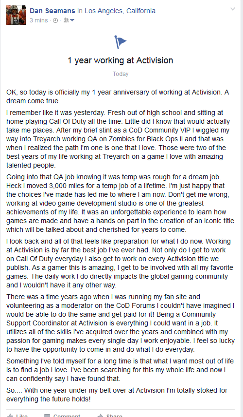 Today is officially my 1 year anniversary of working at Activision. Wanted to share my thoughts. https://t.co/QUMTPQvCDZ