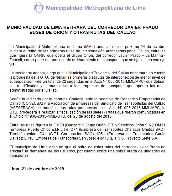 Municipalidad de Lima retirará del corredor Javier Prado  buses de Orión y otras rutas del Callao. https://t.co/MJoeKXOtiW