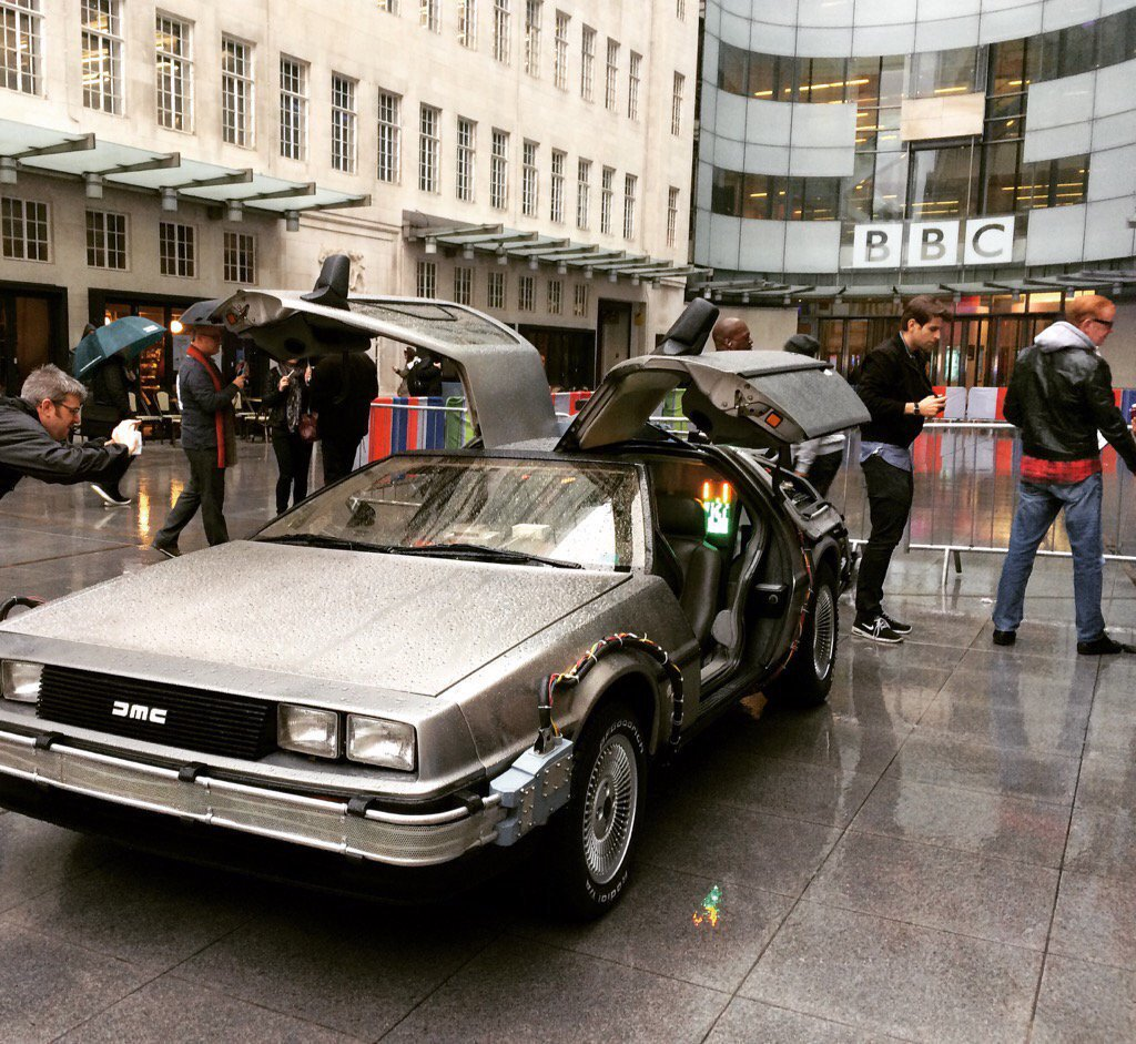 The Delorean was outside the BBC in both London and Salford this morning! Proof it works!! #BackToTheFuture https://t.co/gqD6p5eUaD