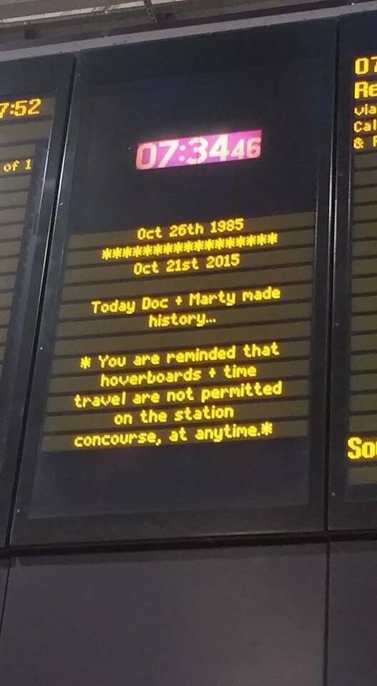 Haha commuter spotted this on notice board, it seems some1 at @networkrail has a sense of humour #BackToTheFuture https://t.co/QkfZHGMN80