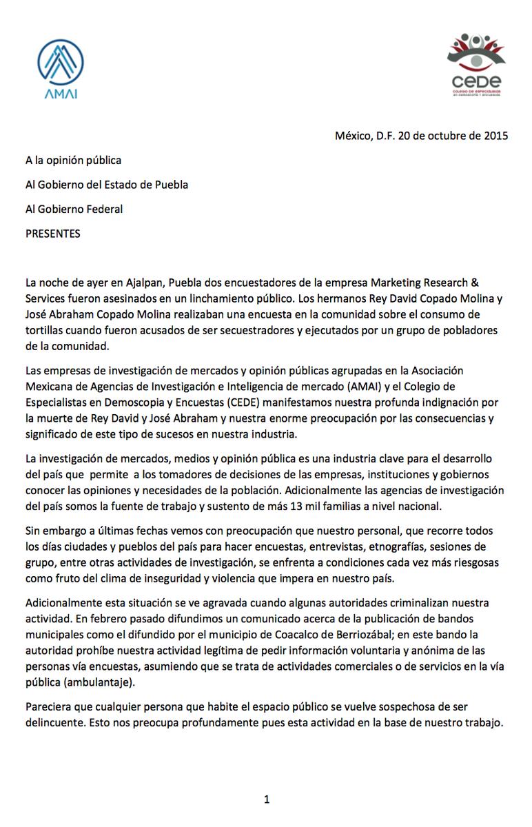AMAI y @CEDE_Mex manifestamos nuestra profunda indignación por la muerte de encuestadores en Puebla. Comunicado: https://t.co/JzhC4FJzhW