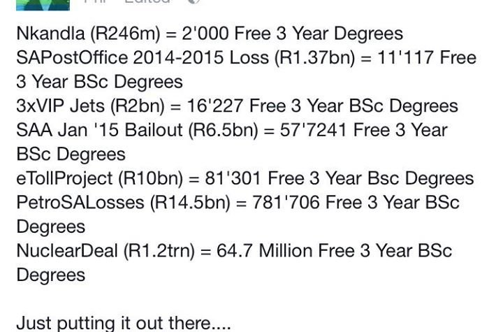 Here's all the money the ANC spent....that could have been used for education. #FeesMustFall #ANCMustFall https://t.co/GyCDdd48aL