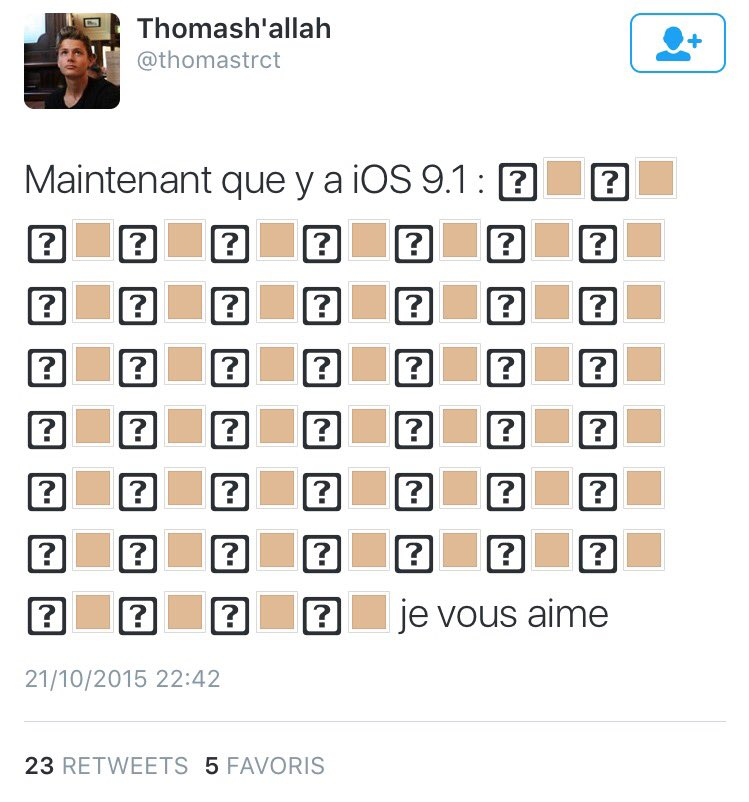 Quand la maj iOS 9.1 t'ouvre les yeux sur la violence qui fait rage sur Twitter depuis quelques heures. Avant/Après. https://t.co/j8HKeHOYab