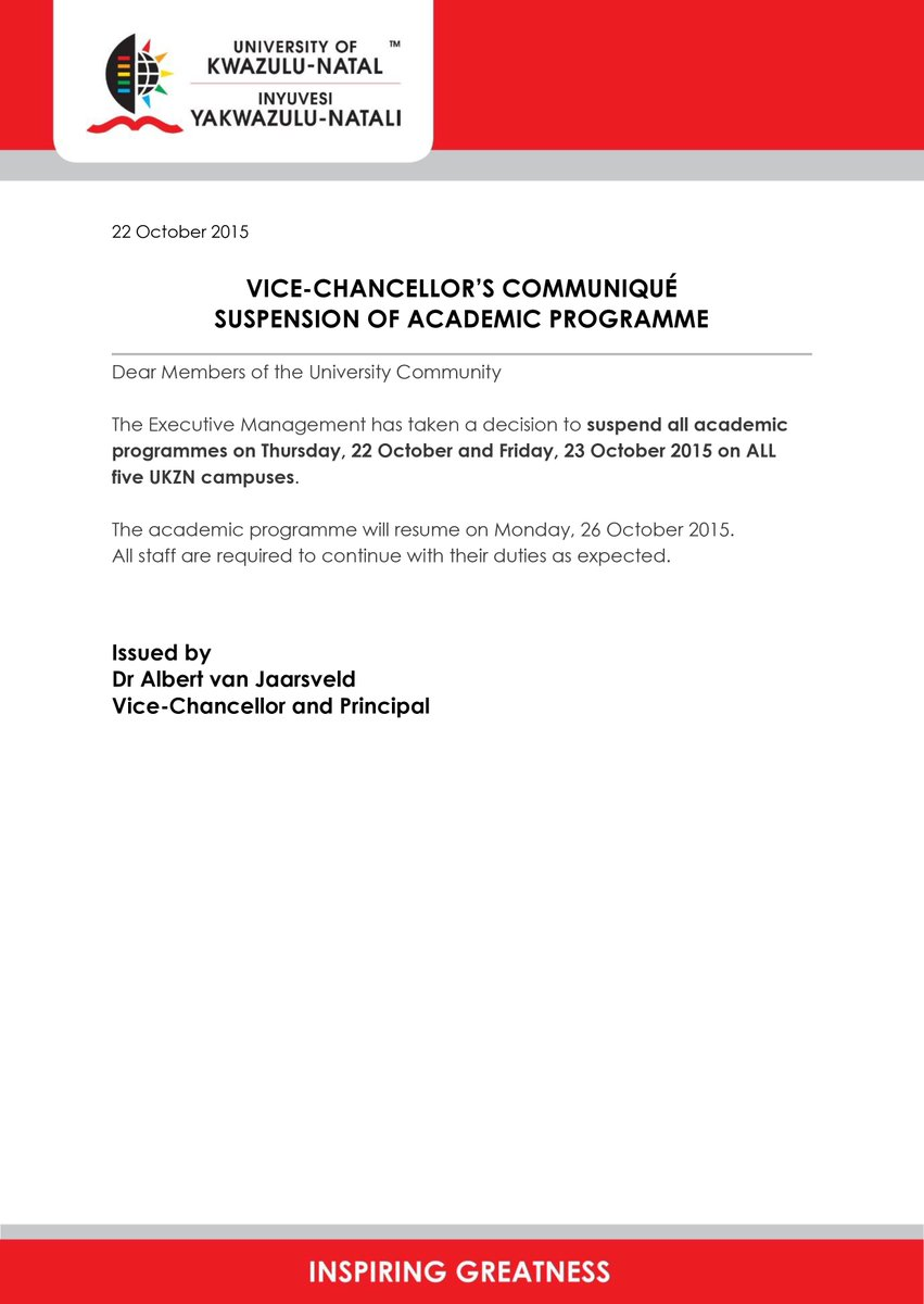 Dear UKZN  Please take note of the following: VICE-CHANCELLOR'S COMMUNIQUÉ SUSPENSION OF ACADEMIC PROGRAMME https://t.co/ZNRWpARuZ5