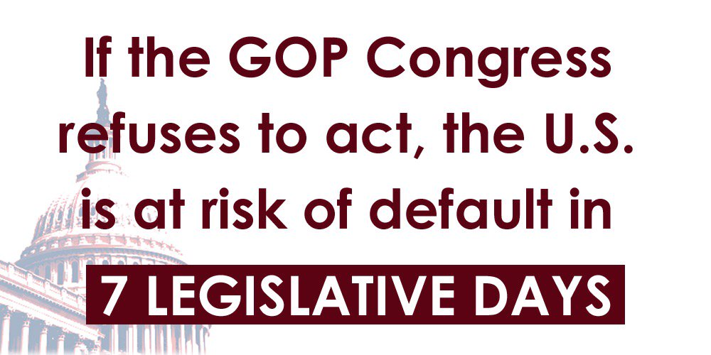 .@HouseGOP, it's time to end your intraparty soap opera & get to work. Americans want Congress to avert #GOPdefault! https://t.co/9VfnuGSwxj