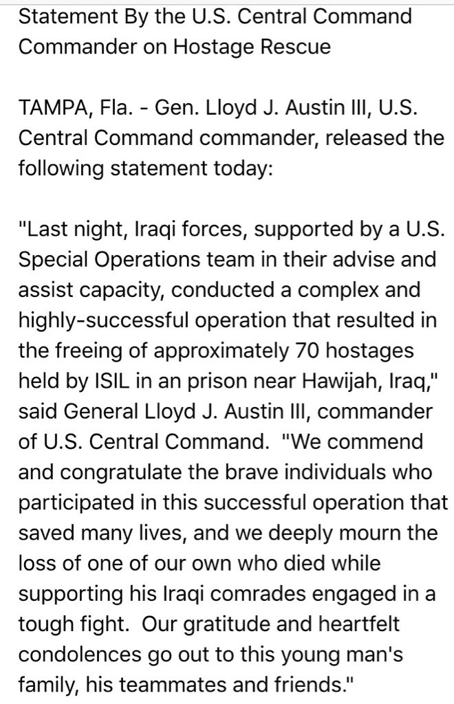 JUST IN: Gen. Austin's statement on American special operator KIA in Iraq while rescuing 70 - yes, 70 - hostages. https://t.co/sx6RqHHVGX