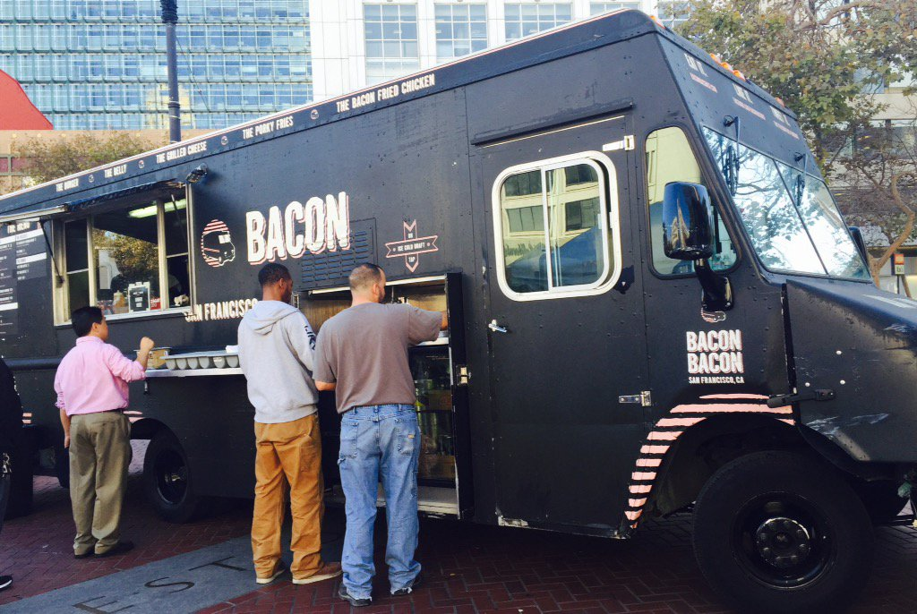 Craving some bacon? Hurry over to OtG UN Plaza to get your @BaconBaconSF fix! Here from 11-2p with 4 trucks! https://t.co/pn7XLcdNoE