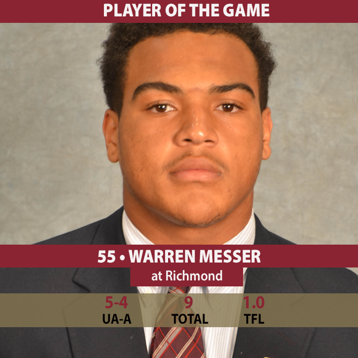 After making 9 tackles, including 1 TFL, @ElonFB's Player of the Game is LB Warren Messer #CAAFB http://t.co/jPjLBl4GD4