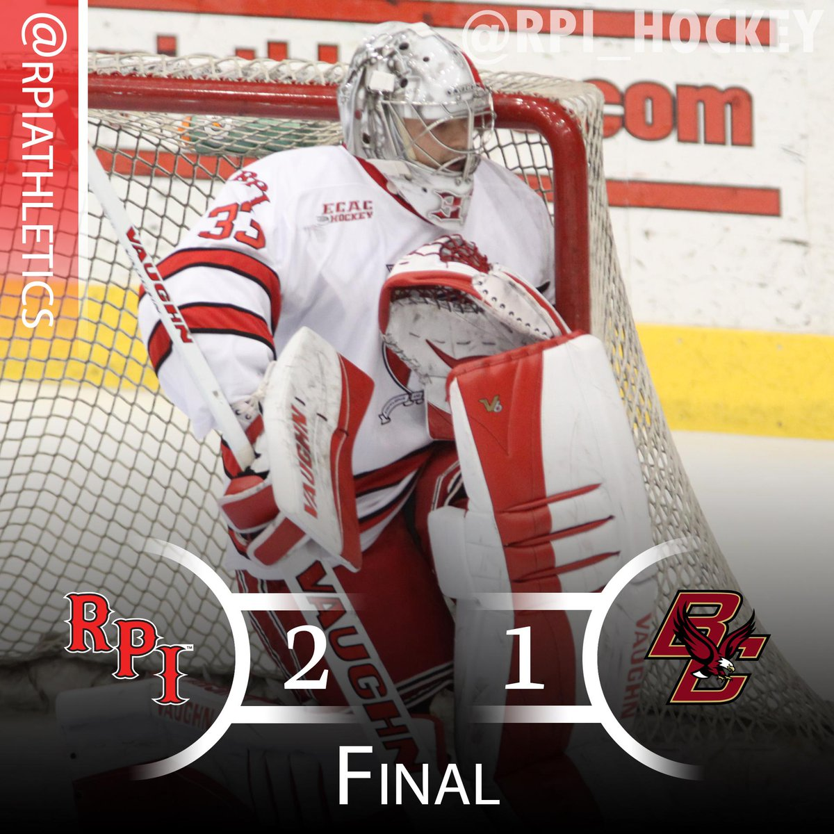 #RPIHockey (1-1) tops No. 1 Boston College, 2-1, behind two goals from Riley Bourbonnais. Kasdorf saves 36. http://t.co/9A4H2N7pb8