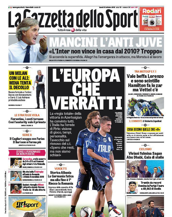 Oggi in #primapagina @robymancio lancia la sfida alla Juve. E l'Italia è ai piedi di @MarcoVerratti1 http://t.co/Slt7kg5F5p
