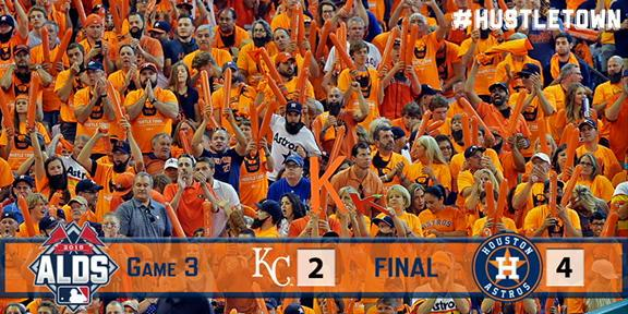 #Astros win and take a 2-1 lead over KC in the #ALDS! #Astros 4, Royals 2. #HustleTown http://t.co/pEHocA0x0z