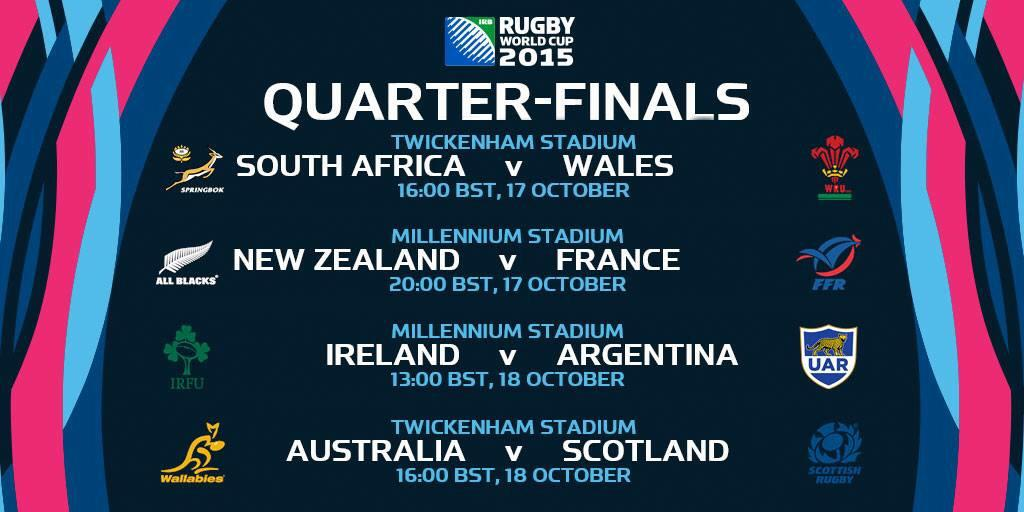 Los 4tos de Final de la #RWC2015: http://t.co/FY08kol7HT
