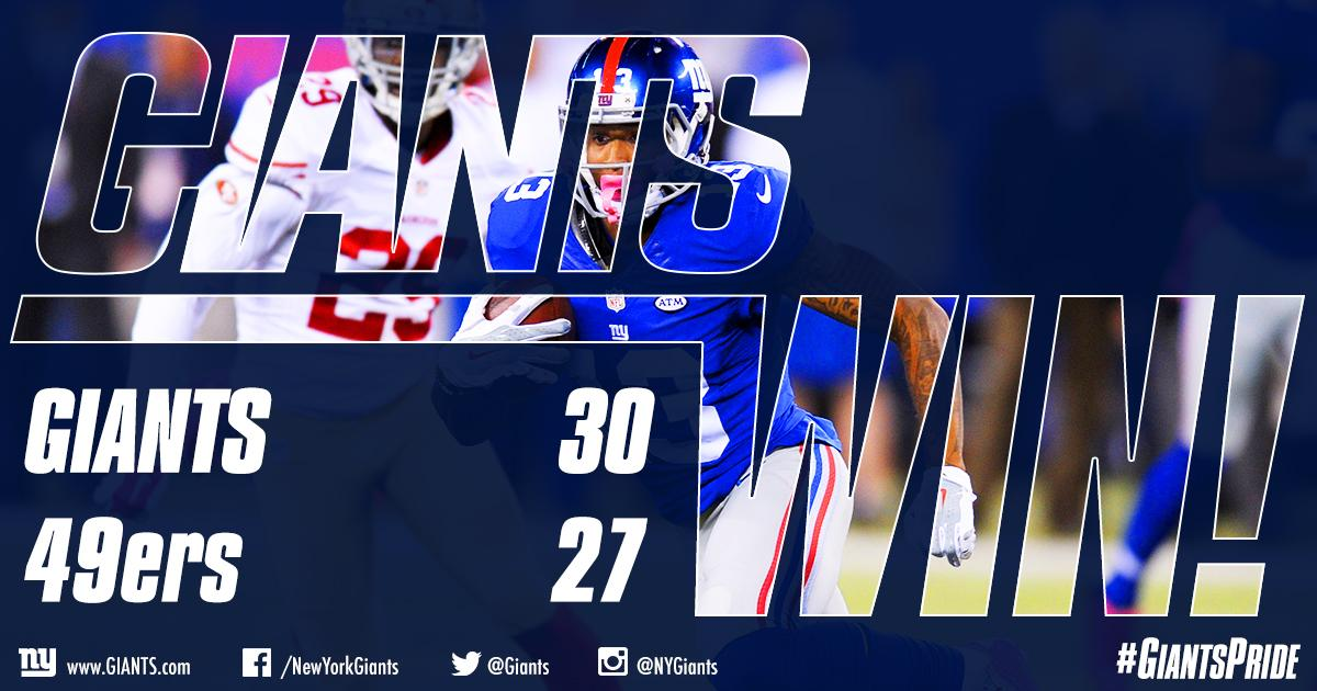 That's an unreal comeback win from your FIRST PLACE NEW YORK GIANTS! Watch highlights HERE:http://t.co/yMSNnbEvmk http://t.co/h2nymBSFcR