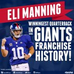 Eli Manning is now the winningest QB in franchise history with 102 wins! Its also his 27th 4th quarter comeback! http://t.co/ub806iPHrl