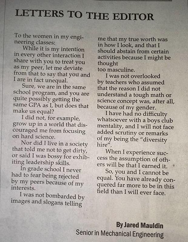 <3 this. Male engineering student perfectly explains why women aren't equal to men > http://t.co/v3viKOiXQN http://t.co/smOdPE79Bf