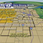 Wind Advisory and High Wind Warning in effect through this afternoon. Gusts up to 60 mph in spots! #mnw #iawx http://t.co/5pxc1Fqxzn