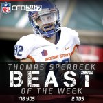 #BeastoftheWeek: Boise State WR Thomas Sperbeck had 178 yards and 2 TDs in a 41-10 win over Colorado State. http://t.co/NPq6uCzxJX