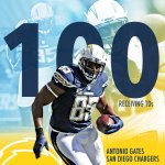 Antonio Gates is now the second TE in NFL history to reach 100 TD catches. #MNF #PITvsSD http://t.co/1rQ9c283Po