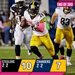 END OF 3RD QUARTER: @steelers: 10 @Chargers: 7 #MNF #PITvsSD http://t.co/E4LcnvRlSL