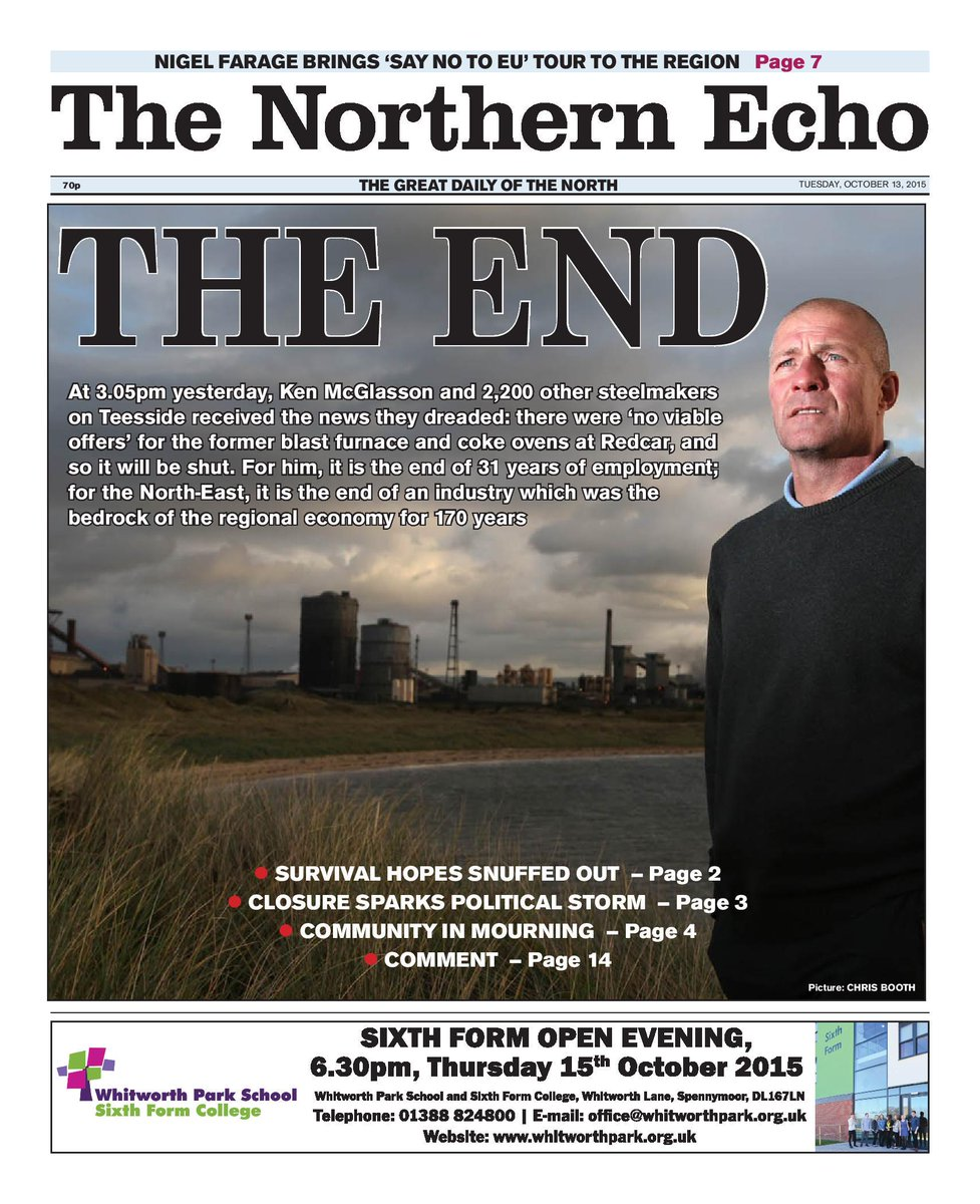 Today's Northern Echo: The end of steelmaking at #Redcar. As the son of a Tees steelworker, I find it heartbreaking. http://t.co/mftQ6OoB1a