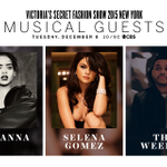 Drumroll please... @rihanna, @selenagomez & @theweeknd  are this years #VSFashionShow musical guests! http://t.co/cO33AzTl0r