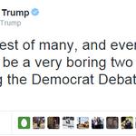Donald Trump announces he will live-tweet tonights #DemDebate to his 4,000,000+ followers: http://t.co/tue3jlF3PU http://t.co/5mbzJjlL4u