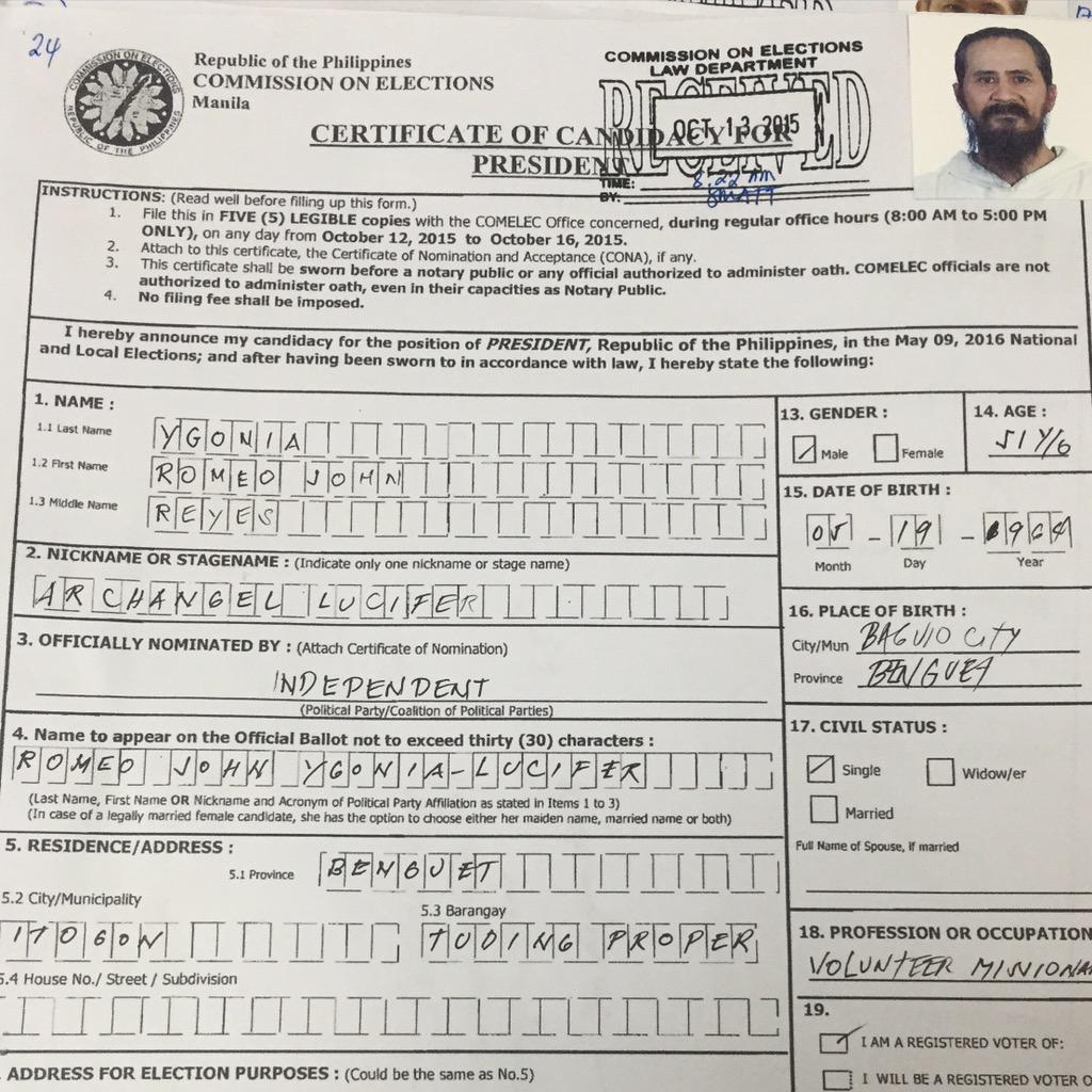 """""""Archangel Lucifer"""" wants to be the President of the Philippines http://t.co/CWjKklXIxd"""