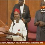 #MinisterialNominees Dr Ogbonaya Onu now answering questions at the floor of the @NGRSenate http://t.co/06bvTJWD6d