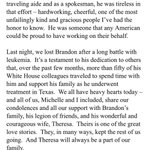 Obama on the passing of Brandon Lepow. http://t.co/RpaDfNVK8u