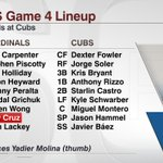Yadier Molina is out of Cardinals' Game 4 starting lineup. Manager Mike Matheny: Molinas left thumb is too weak. http://t.co/K1rXivgWye