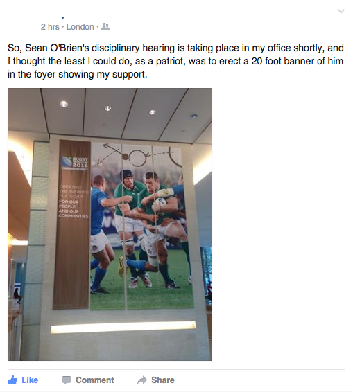 From a friend inside the office where Sean O'Brien's hearing is taking place... #seanobrien #RWC2015 http://t.co/IoN8OT7V6t