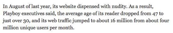 From the NY Times article on Playboy. Sit up and pay attention to this part! http://t.co/SmEBDsIBpB http://t.co/qrbO2Rwry9