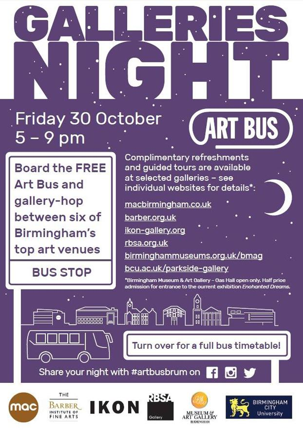 All aboard the #artbusbrum for #GalleriesNight on 30 Oct #brumculture http://t.co/QfiQvEjpsM
