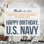 #OnThisDay 1775, Continental Congress authorized the first naval force. Happy 240th birthday, @USNavy! #240NavyBday http://t.co/ID2CTUvbTt