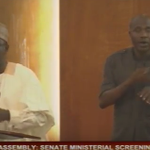 #MinisterialScreening Suleiman Adamu now answering questions at floor of the @NGRSenate http://t.co/L9vQkokf5O