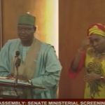 #MinisterialScreening IbrahimUsman Jibrin from Nasarawa State now answering questions at floor of the @NGRSenate http://t.co/og0R5aIYsN