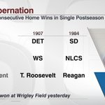 Cubs: seeking to win consecutive playoff games at home – something they've done twice. Cardinals at Cubs, 4:37 ET http://t.co/4J5kYvAIDR