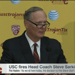 USC AD Pat Haden says he couldnt get a hold of Steve Sarkisian to fire him & the 2 still havent spoken. #LIVEonSC http://t.co/6pdBTPPBgh