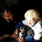 .@tvbrad with 101-year-old @Cubs fan, Ms. Loretta Dolan. #flythew http://t.co/mNZLMojYHs http://t.co/BnEP85zbfU