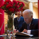 Today VP Biden signed the condolence book for the Ankara terrorist attack at the Turkish Embassy in Washington, DC http://t.co/ahKhp7sCJN