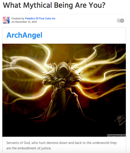 I got ArchAngel.  I hunt demons + send them to the underworld. I'm the embodiment of justice. http://t