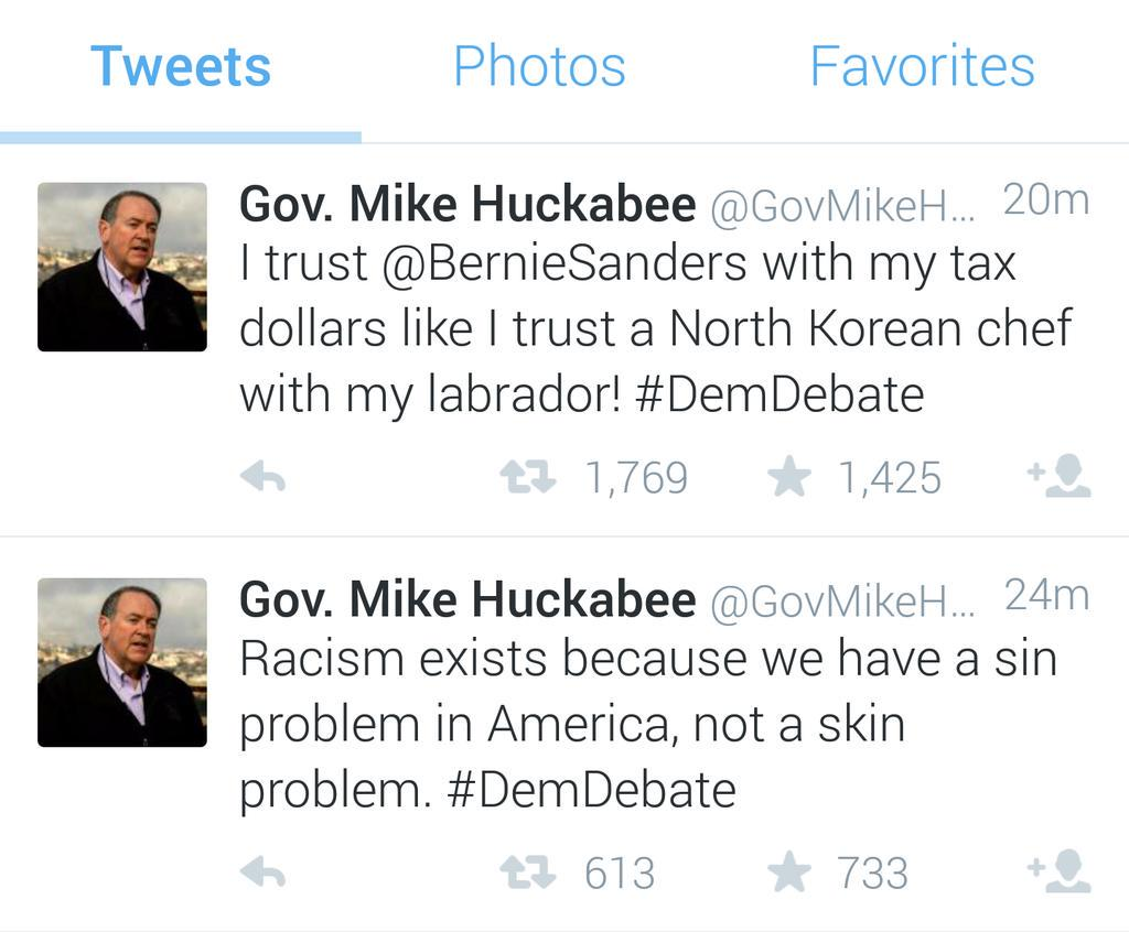 .@GovMikeHuckabee's strategy...ignore racism, then say something racist immediately after http://t.co/nQMrCGfQKB