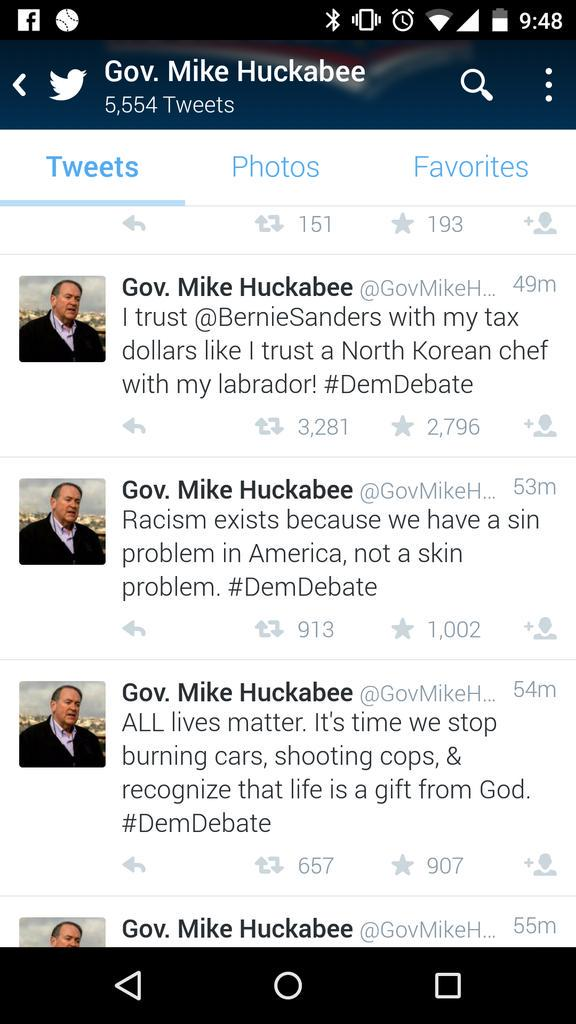 Wow... @GovMikeHuckabee said racism exists because of sin then makes a racist remark. That happened. #DemDebate http://t.co/Y8wjNFrlEY