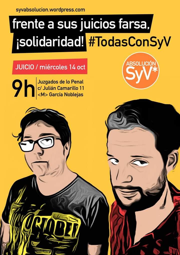 Nuestros compañeros de muchas luchas  @Cylon69 y @Viperey  se enfrentan a un juicio #StopMontajesPoliciales Apoyo http://t.co/l7OYkd4NzC