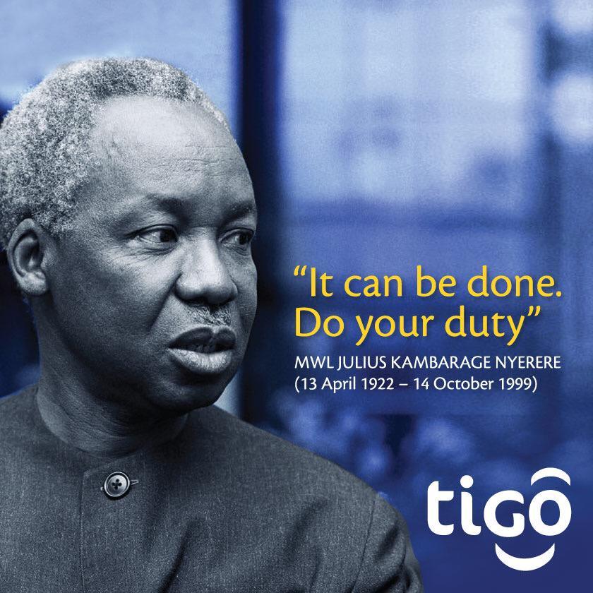 Tigo tunakutakia kila la kheri katika siku hii muhimu ya kumuenzi baba wa Taifa Mwalimu Julius Kambarage Nyerere http://t.co/CkBnI6LdFb